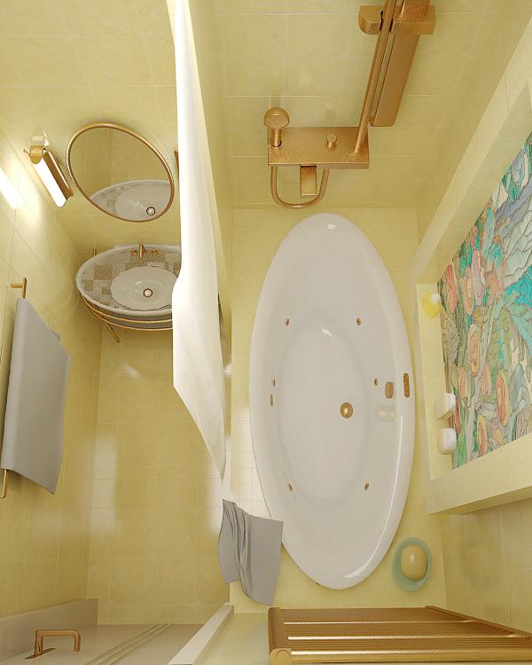 Интерьер ванной комнаты в хрущевке с перенесенным в зону ванны полотенцесушителем